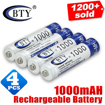 4X BTY AAA Rechargeable Battery Recharge Batteries 1.2V 1000mAh Ni-MH OZ