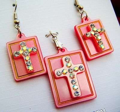 ROSE COLOR CRYSTAL CROSS PENDANT & MATCHING EARRINGS