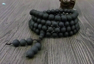 6mm Tibet Buddhism 108 Black Amber Beads Mala Necklace