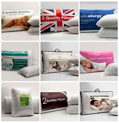 Egyptian Cotton Bed Pillows Microfibre Hollowfibre Hotel Quality Packs 1,2,4 & 8