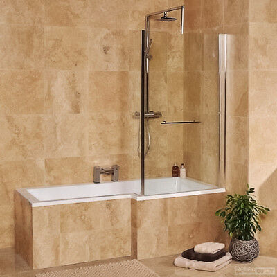 Modern Right Hand L-Shaped Square Shower Bath Toilet Basin Fixed Screen Suite