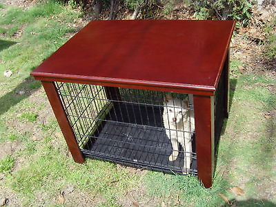 """Wood Dog Crate Table Fit Folding 30"""" Pet Cage Furniture"""