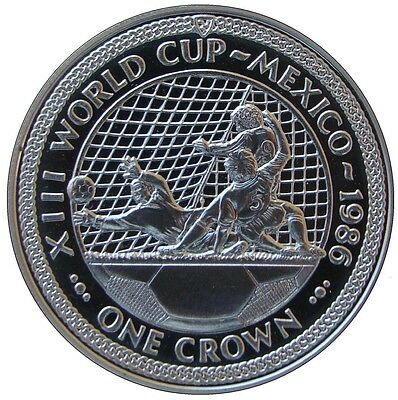 Isle Of Man 1986. 1 Crown Plata Proof. Futbol Mexico