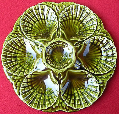 Antique French Sarreguemines Majolica Oyster Shell Plate