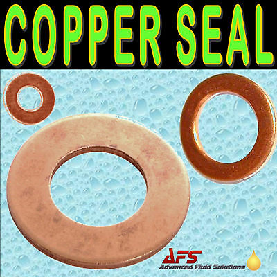 METRIC Copper Sealing Washer Ring Plain Flat Sump Drain Seal UK