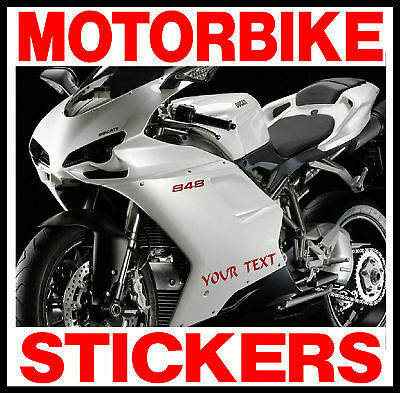 2 X CUSTOM PERSONALISED VINYL MOTORBIKE STICKERS DECALS All Manufacturers Models