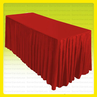 8' Fitted Table Skirt Cover Trade Show Party Wedding Banquet Tablecloth RED