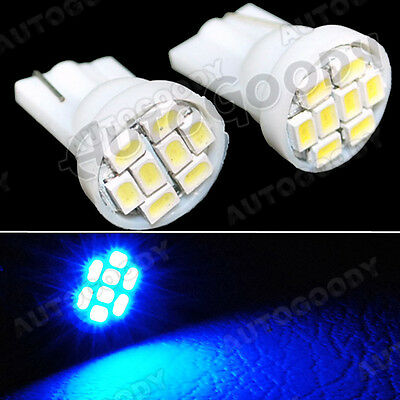 2x BLUE LED Bulbs T10 Side Marker License Plate Lights