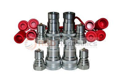 "4pk 3/8"" ISO-B Hydraulic Quick Couplers w/Dust Cap&Plug FREE SHIPPING"