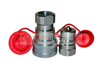 "1"" ISO-B Hydraulic Quick Couplers w/Dust Cap & Plug"