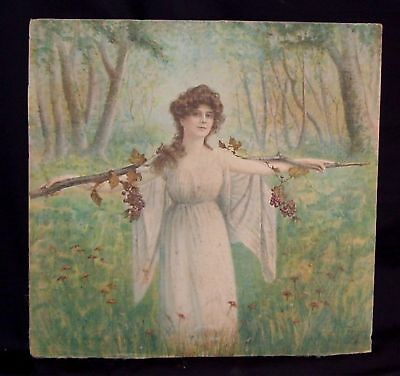 Antique Pillow Cover Lithograph on fabric dated 1906