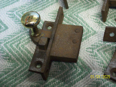 One Early Mortised Brass & Cast Sliding Sash Lock  -T11-