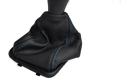 FITS MERCEDES A CLASS W169 LEATHER GEAR GAITER blue stitc