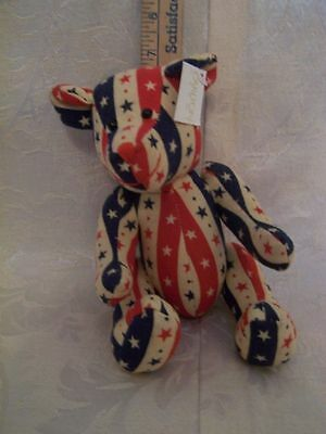 Small 7 in.  Carlton Cards Bear Fourth of July EUC