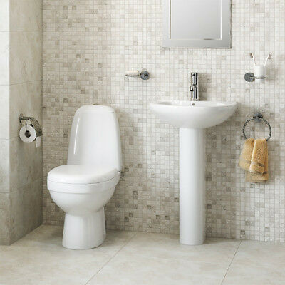 Bathroom Suite - 2 Piece WC Close Coupled Toilet + Seat Full Pedestal Basin Sink