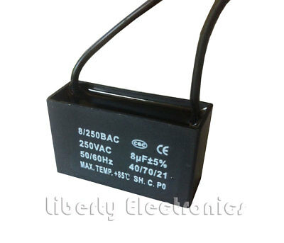 new A.C. MOTOR CAPACITOR 8 uF ± 5% 250 VAC