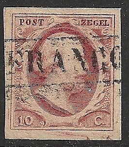 Netherlands 1852 NVPH 2 PlateX Position 34  CANC  VF