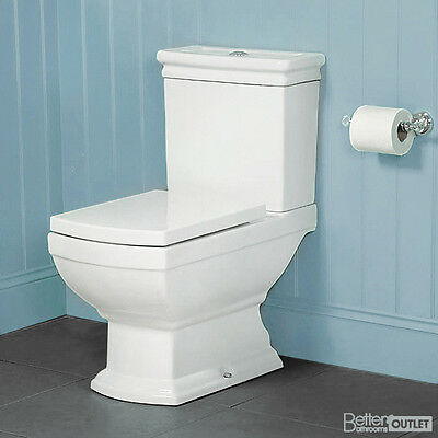 Toilet WC Bathroom Traditional Close Coupled Pan Soft Slow Close Seat Victorian
