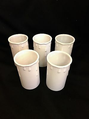 5 x New Candle drips candledrip lamp holder covers 70mm x 37mm White plastic