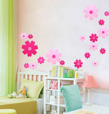 Pink Flowers Wall Stickers Girl/Kids Room/Nursery Decor Home DIY Peel & Stick