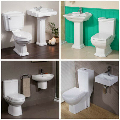 Bathroom Suite Close Coupled Toilet Basin Sink Semi Full Pedestal WC Soft Close