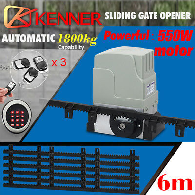 New Sliding Electric Gate Opener 1800KG Automatic Motor Remote Kit Heavy Duty 6m