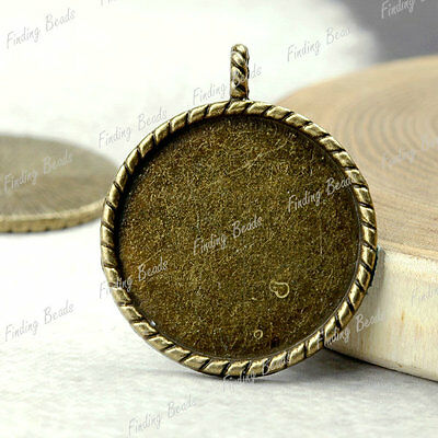 10 Round Charm Cabochon Setting antique brass TS4210-4