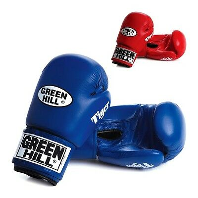 Greenhill Leather Boxing Gloves Tiger Training Sparring 16 Oz Red Muay Thai MMA