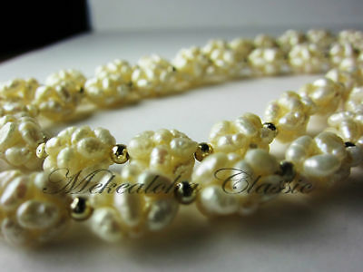 "Genuine Intricate Woven Pearl Necklace 24""inch RARE"