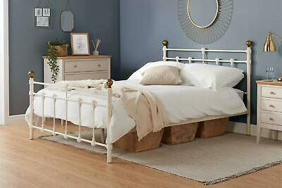 "Atlas Cream & Brass Small Double 4FT 120cm 4'0"" Metal Bed Frame"