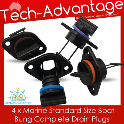 4 X Boat Coarse Standard 17Mm Internal Flow Complete Drain Plug Marine Bungs