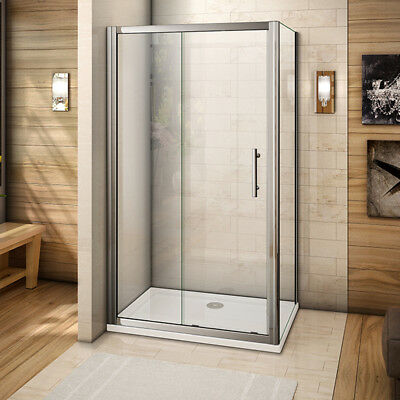 Aica 1000x700mm Sliding Shower Enclosure Cubicle Glass Side Panel and Stone Tray