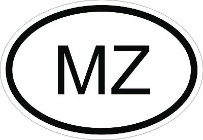 MZ MOZAMBIQUE COUNTRY CODE OVAL STICKER bumper decal