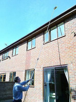 17Ft Water Fed Window Cleaning Pole Brush Telescopic Conservatory Equipment
