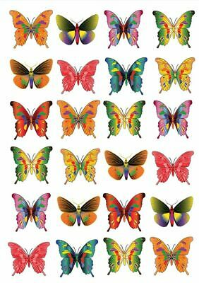 24 X Tropical Mix Butterfly  Edible Cupcake Toppers  Cake Rice Paper M6