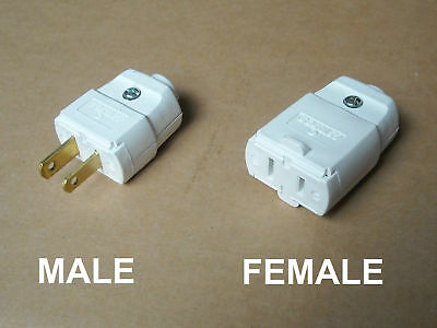 Male / Female Outlet Leviton 120 V Vac 15A 2 Pin Prong Cord Connector Plug White