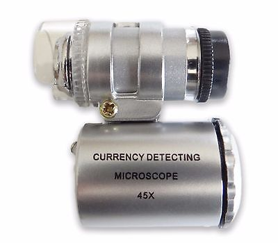 45X Mini LED Pocket Microscope + UV Light Jewelry Coin Stamp Currency Detection