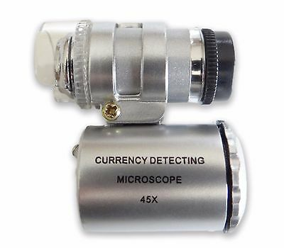45x Mini LED Pocket Microscope with UV Light Currency Detecting US FREE SHIPPING