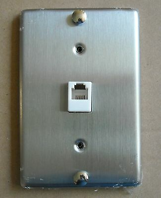 Tel Phone Jack Stainless Steel Wall Mount Cover Plate