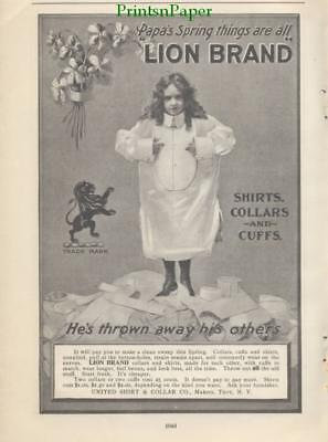 1900 Lion Brand Shirts Collars and Cuffs Print Ad Boy Long Hair United Troy NY