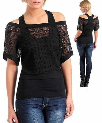 S59  -S/Small- Black,2 piece,Stretch Blouse,Top