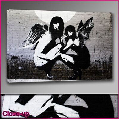 Banksy2 angels kneel canvas print A1 24x36 Art
