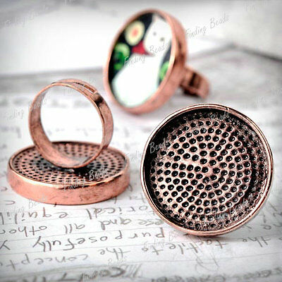5pcs Ring Mountings Cabochon Antique Copper TS7413-3