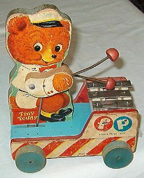 Cool Vintage Fisher Price Tiny Teddy Candyman Pull Toy