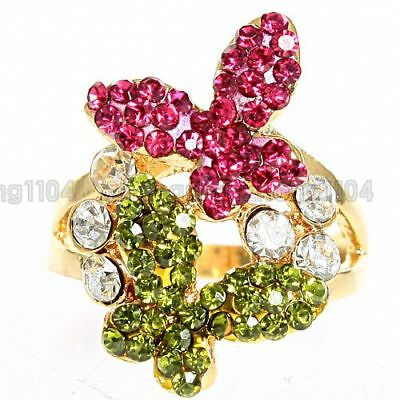 18K GP Multi-Colored Crystal Ring A29  Free Shipping