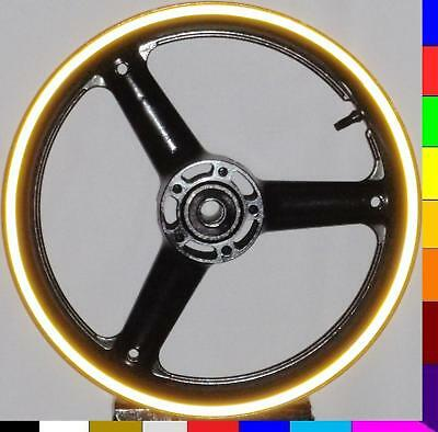 BRIGHT YELLOW REFLECTIVE MOTORCYCLE RIM STRIPES WHEEL DECALS TAPE STICKERS