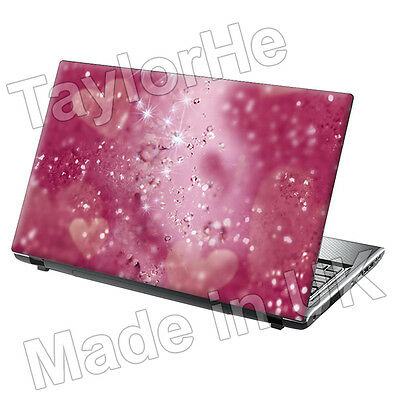 Laptop Skin Cover Sticker Decal Pink hearts Sparkle 83