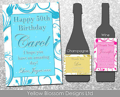 Personalised Wine Champagne Bottle Label Thank You Birthday Hen Party Night Bday