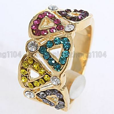 18K GP Multi-colored Crystal Triangle Pattern Ring A18