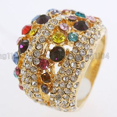 18K GP Multi-Colored Crystal Ring A19 Free Shipping
